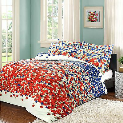 MEADOW POPPY DAISY RED DOUBLE COTTON BLEND REVERSIBLE DUVET COMFORTER COVER