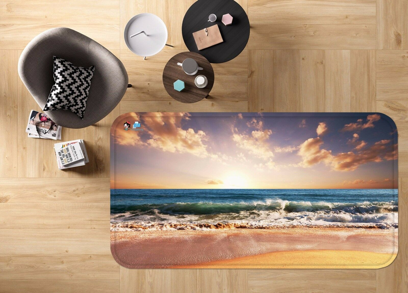 3D Sky Sky Sky Cloud Sea 46 Non Slip Rug Mat Room Mat Quality