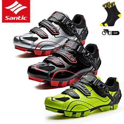 Santic Men Cycling Shoes MTB Mountain Bike Self-Locking Sports Riding Shoes