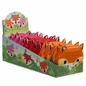 3 Bright Colours! Cute Contemporary Adorable Fox Kids Vinyl Covered Sewing Kit