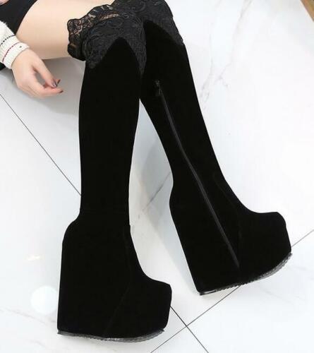 Damen 17cm Keilabsatz Platform Reißverschluss Overknee Schenkelhohe Stiefel Neu