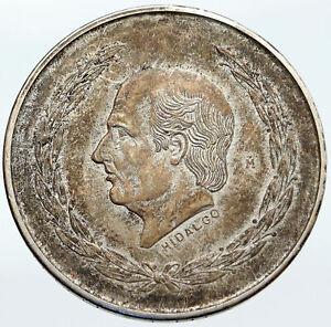 1952 MEXICO Large SILVER 5 Pesos Coin w MEXICAN Independence HERO Hidalgo i86117