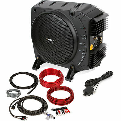 """Infinity BassLink 200W 10"""" Class D Powered Subwoofer System PLUS 8 AWG Amp Kit"""