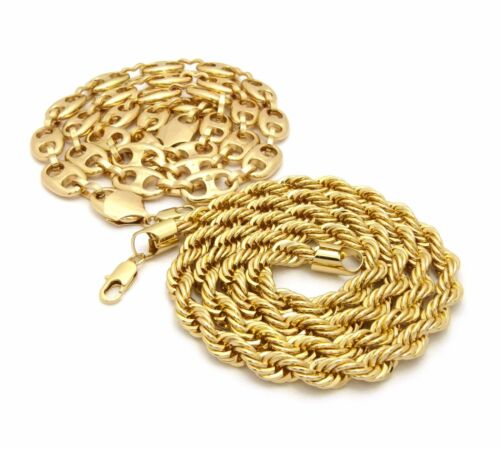 """HIP HOP 8mm//30/"""" ROPE CHAIN /& 12mm//30/"""" MARINA CHAIN RAPPER NECKLACE SET RC2372G"""