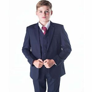 Boys-Suits-Boys-Navy-Suit-Boys-Wedding-Suit-Page-Boy-Party-Prom-5-Piece-Suit