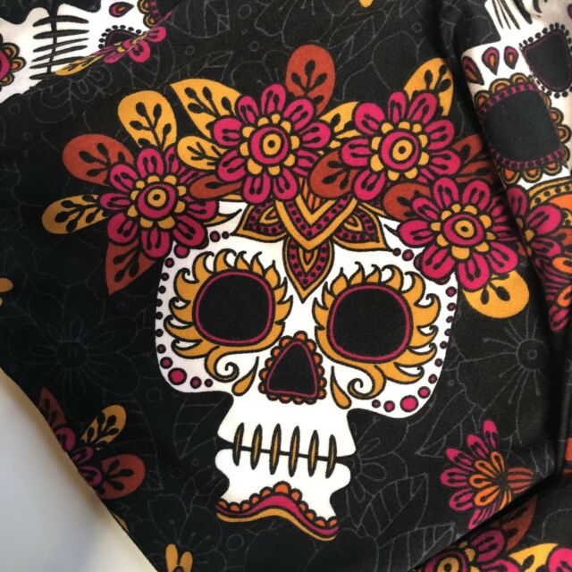 Halloween Sugar Skulls Black Sueded Plus Size Full Length Legging