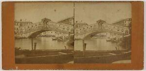 Venezia Pont Rialto Italia Foto Stereo Vintage Albumina c1870