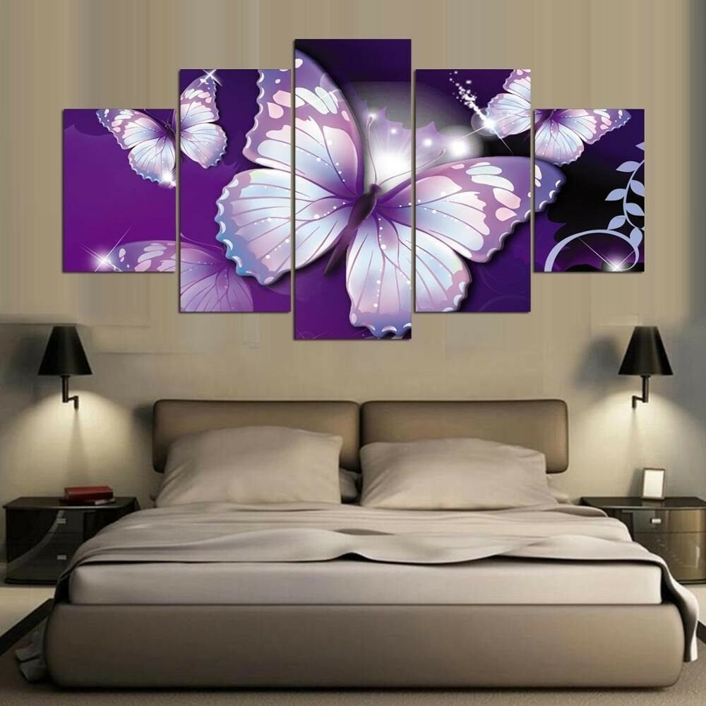 lila Sparkly Butterflies 5 Panel Canvas Print Wall Art