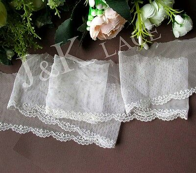 2 meters 7 cm width Pretty Light Cream Embroidery mesh Lace Trim