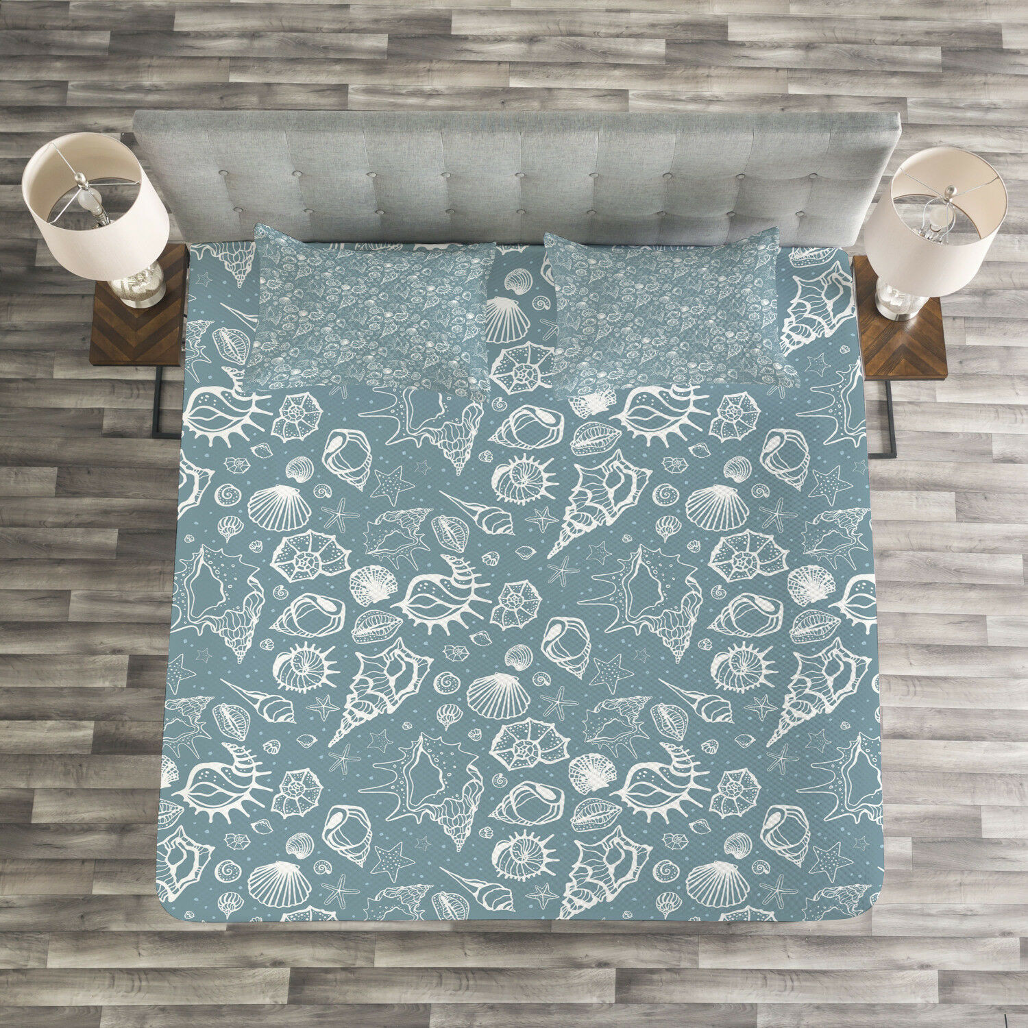 Sea Shells Quilted Bedspread & Pillow Shams Set, Doodle Style Pattern Print