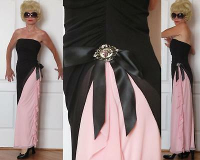 XOXO STRAPLESS LONG STRETCH DRAPED DRESS BLACK & PINK ruffled w/brooch S (XS)