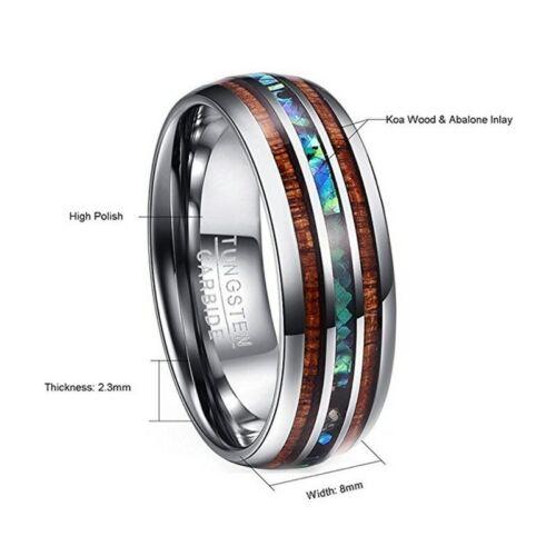 Nuncad 8mm Hawaiian Koa Wood and Abalone Shell Tungsten Carbide Rings Wedding