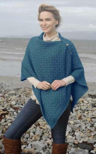Blue Colour Aran Super Soft Merino Buttoned 3-Ways-to-Wear Cape