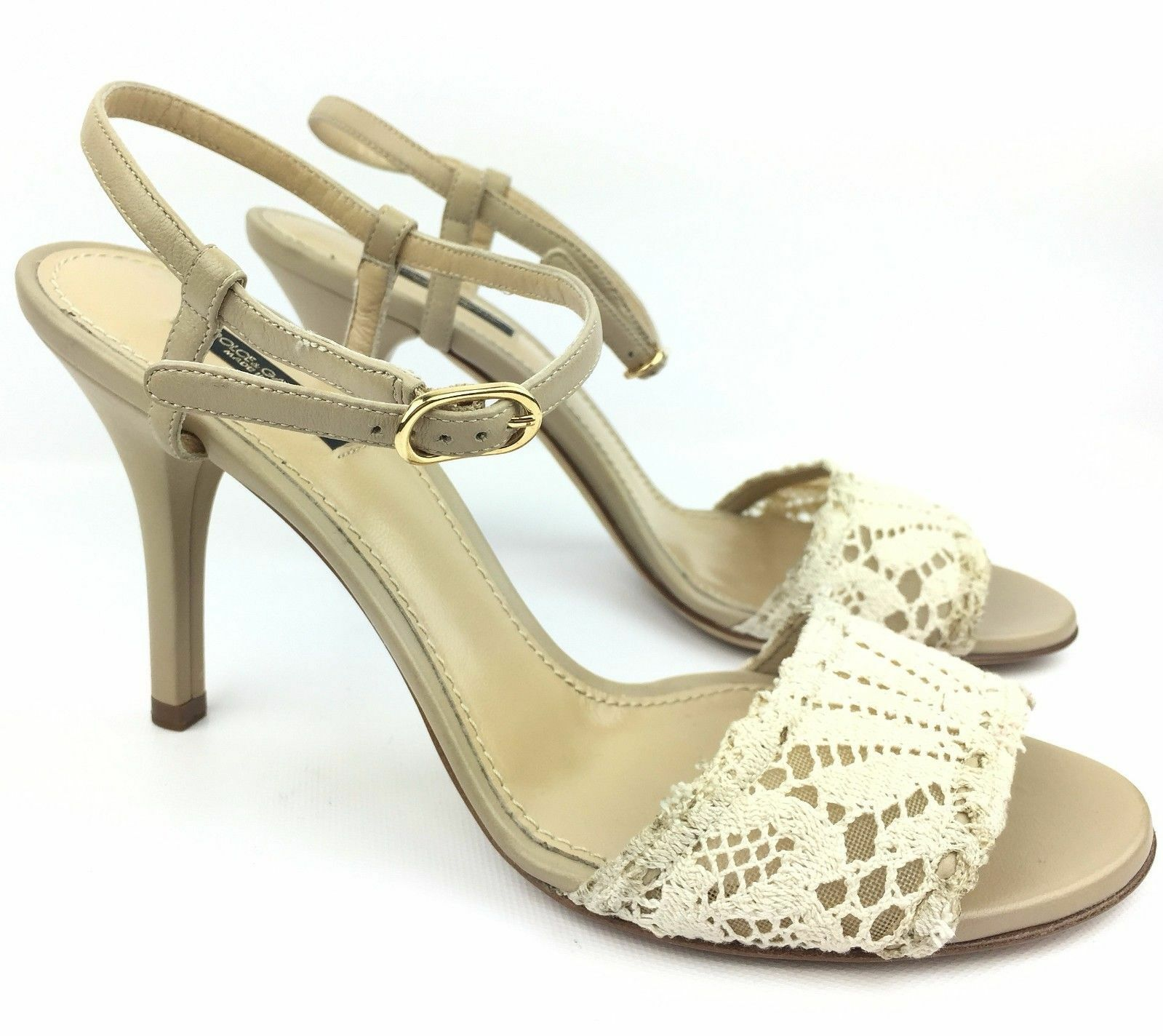 Dolce & Gabbana Beige Leather & Lace Ankle Strap Heels Sandals sz: 39 | US 8
