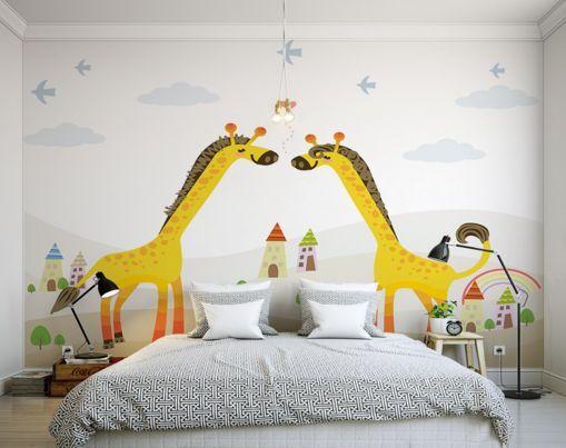 3D Giraffe Gelb 3 Parete Murale Carta da parati immagine sfondo muro stampa