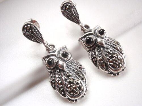 Marcasite Black Eyed Owl Stud Earrings Sterling Silver Corona Sun Jewelry wise