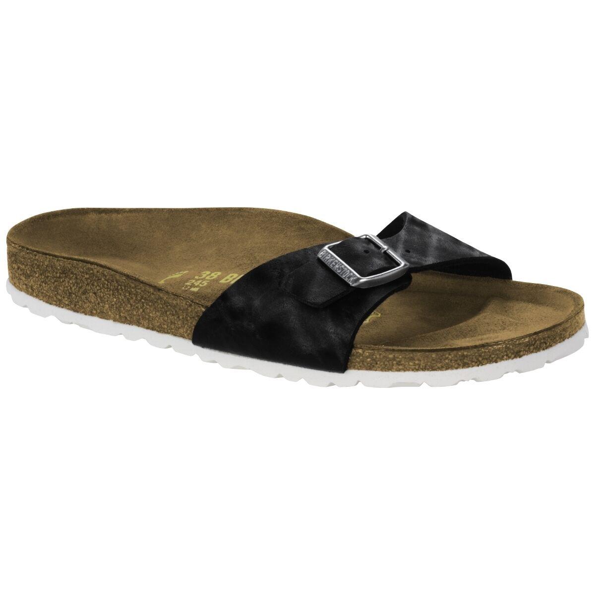 Birkenstock Madrid Birko-Flor Schuhe check schwarz 1005342 Pantolette Weite schmal
