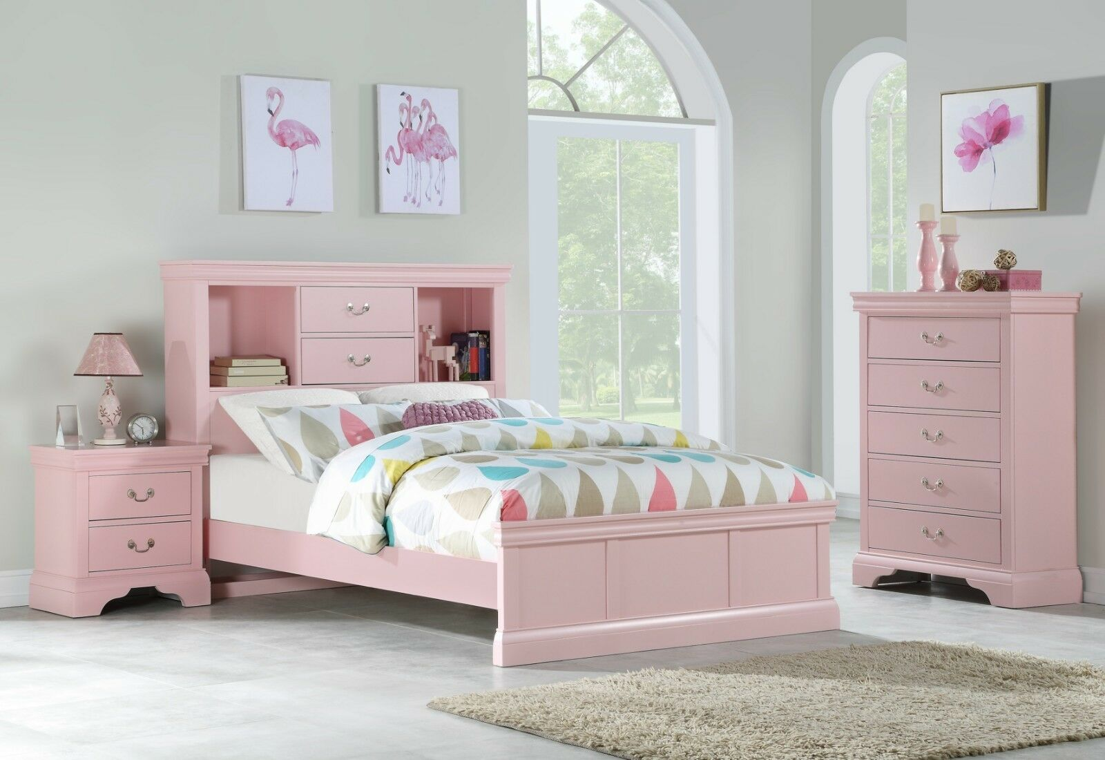 Light Pink Classic Bedroom Furniture Wooden 3pc Set Full Bed Chest Nightstand