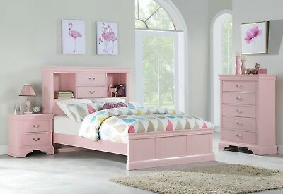 Light Pink Classic Bedroom Furniture Wooden 3pc Set Full Bed Chest  Nightstand | eBay