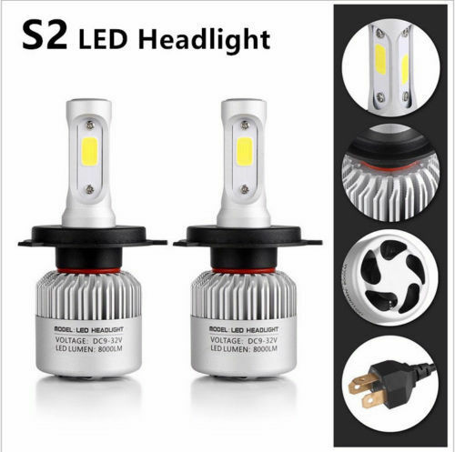 1PCS H4 9003 HB2 36W 8000LM Car LED Headlight Bulbs COB kit 6500K White New GW