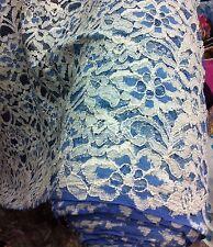 BELLISSIMO biancastro/CIELO BLU cotone pizzo See-through, non elastico a fiori.