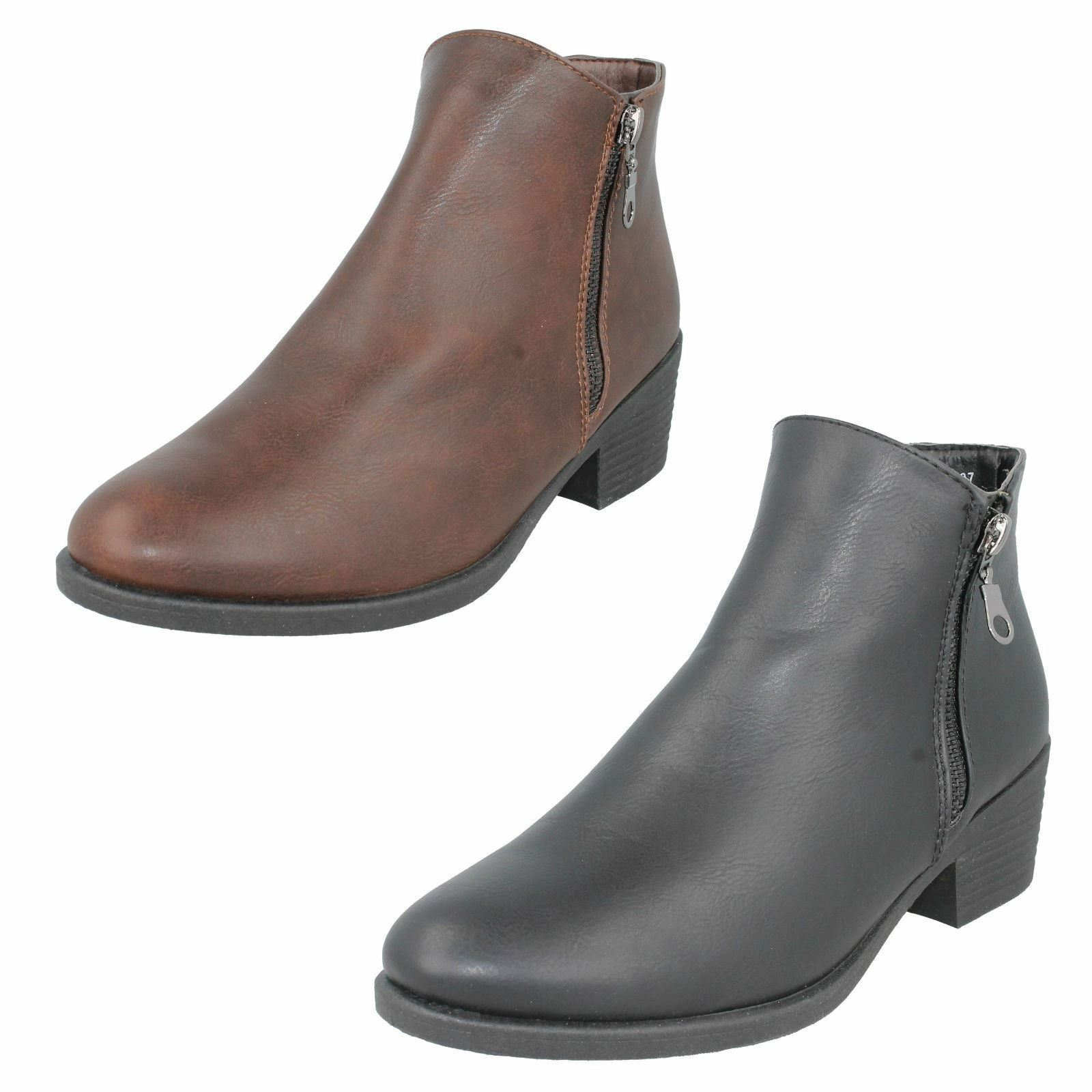 SALE Ladies Spot On Zip Fastening Ankle Boots F50736