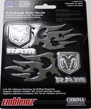 dodge ram head stainless steel emblem decal sticker badge logo flames truck auto