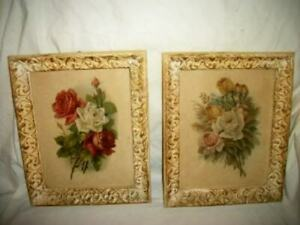 VINTAGE-ROSES-PRINTS-ORNATE-FRENCH-FRAMES-STUNNING-OLD-PRINTS-EARLY-MID-CENTURY