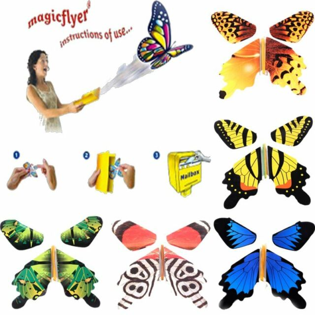 7pcs Card Magic Flying out Plastic Butterfly Surprise Birthday Festival Present