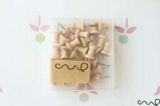 Light Brown Wooden Push Pin 25 Drawing Pins Cork Board Map Office Thumb VAT
