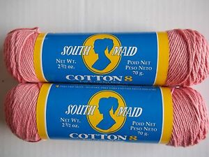 South Maid Cotton 8 Crochet Threadyarn 100 Cotton Coral Lot Of
