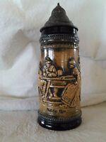 """Authentic Vintage Gerz German Lidded Ceramic Beer Stein 10"""""""
