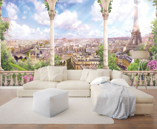 Malla papel pintado fotomural papel pintado mirada Torre Eiffel Paris terraza ciudad 3fx11417v