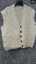 HAND Knitted corpo più caldo/Cardigan Uomo Aran Color Crema Nuovo pura lana