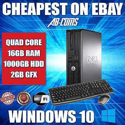 DELL QUAD CORE GAMING DESKTOP PC COMPUTER WIN10 & 2GB GRAPHICS HDMI & 16GB & 1TB