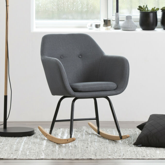 Stuhl Emilia Schaukelstuhl in dunkelgrau und Metall schwarz Polsterstuhl