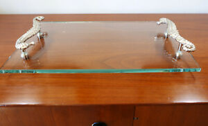 """Pottery Barn Glass Seahorse Handle Nautical Serving Tray 18"""" W x 10"""" D x 2.5"""" H"""