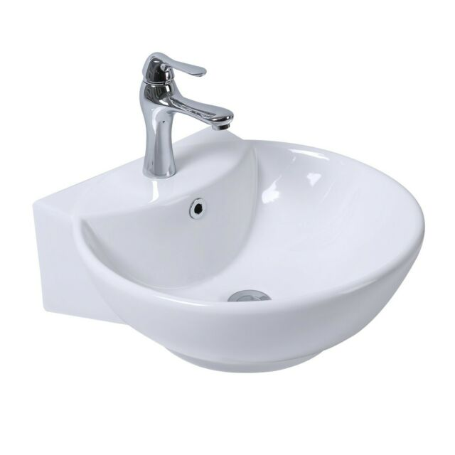 White Wall Mount Sink With Towel Bar Faucet And Drain Combo For Sale Online