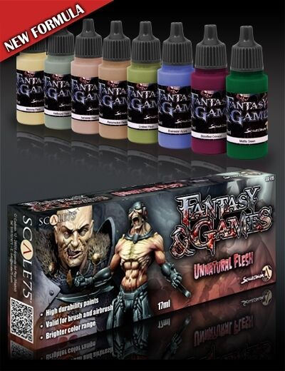skala 75 Onaturlig Flesh Akrylisk färguppsättning 8 Flaskor