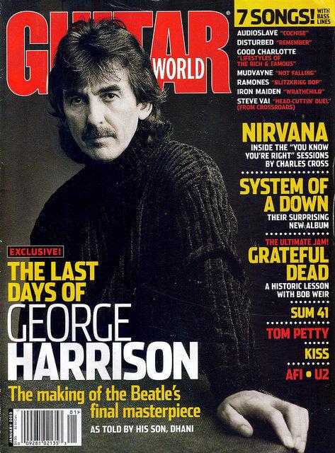 GUITAR WORLD MAGAZINE JANUARY 2003 GEORGE HARRISON BEATLES W/KISS POSTER