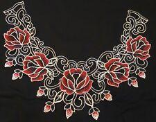 NUOVA Fiore Rosso Nero Guipure Collare-Ricamato Applique collo trim