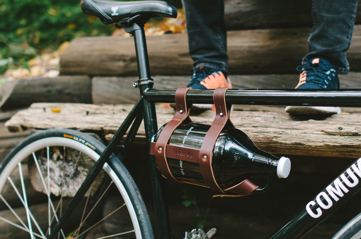 Leather Bicycle Growler Holder  - Brown  official authorization