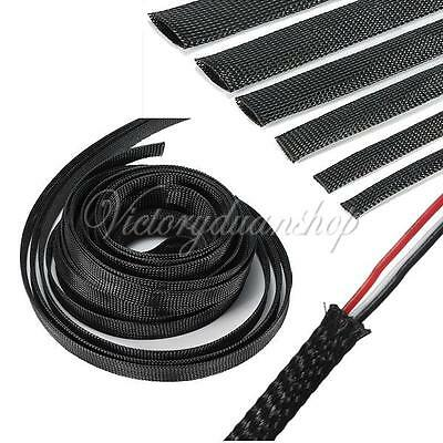 2M 4-20mm Expandable Braided Sleeving Cable Wire Harnessing Sheathing Sleeve New