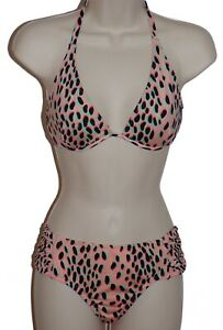 Bar-III-pink-underwire-push-up-halter-bikini-size-XS-swimsuit-new
