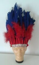 Vintage Indian Toy Play Headdress Chief Red White Blue Feathers