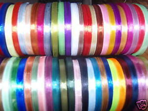 50 ROLLS OF SATIN RIBBON, 50 COLORS 700 YARDS 6 MM, RRP £50