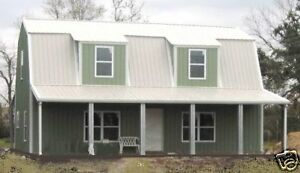 Steel metal gambrel home building shell kit 2 floor 2720 for Steel metal home gambrel building kit 3500 sq ft