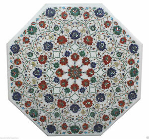 White Marble Dining Center Table Top Mosaic Inlaid Stone Marquetry Outdoor Decor