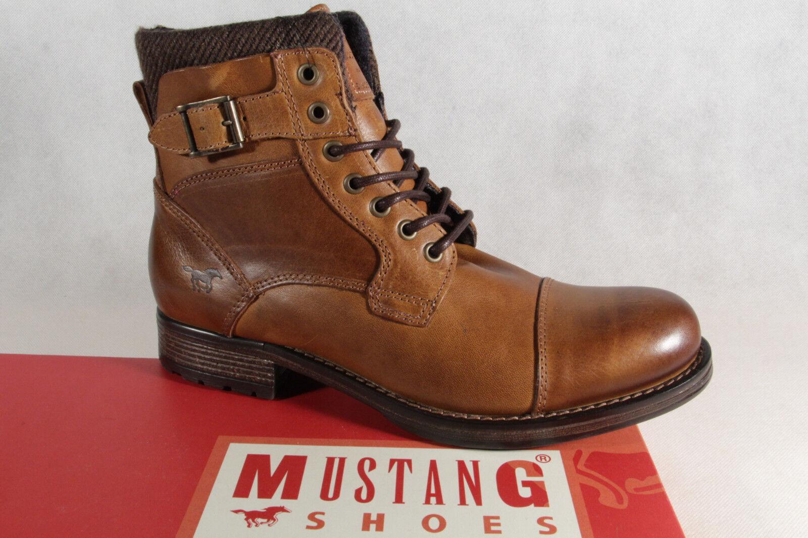 MUSTANG botas de Auténtico cordón Invierno Marrón Cuero Auténtico de 4865 NUEVO 67e207