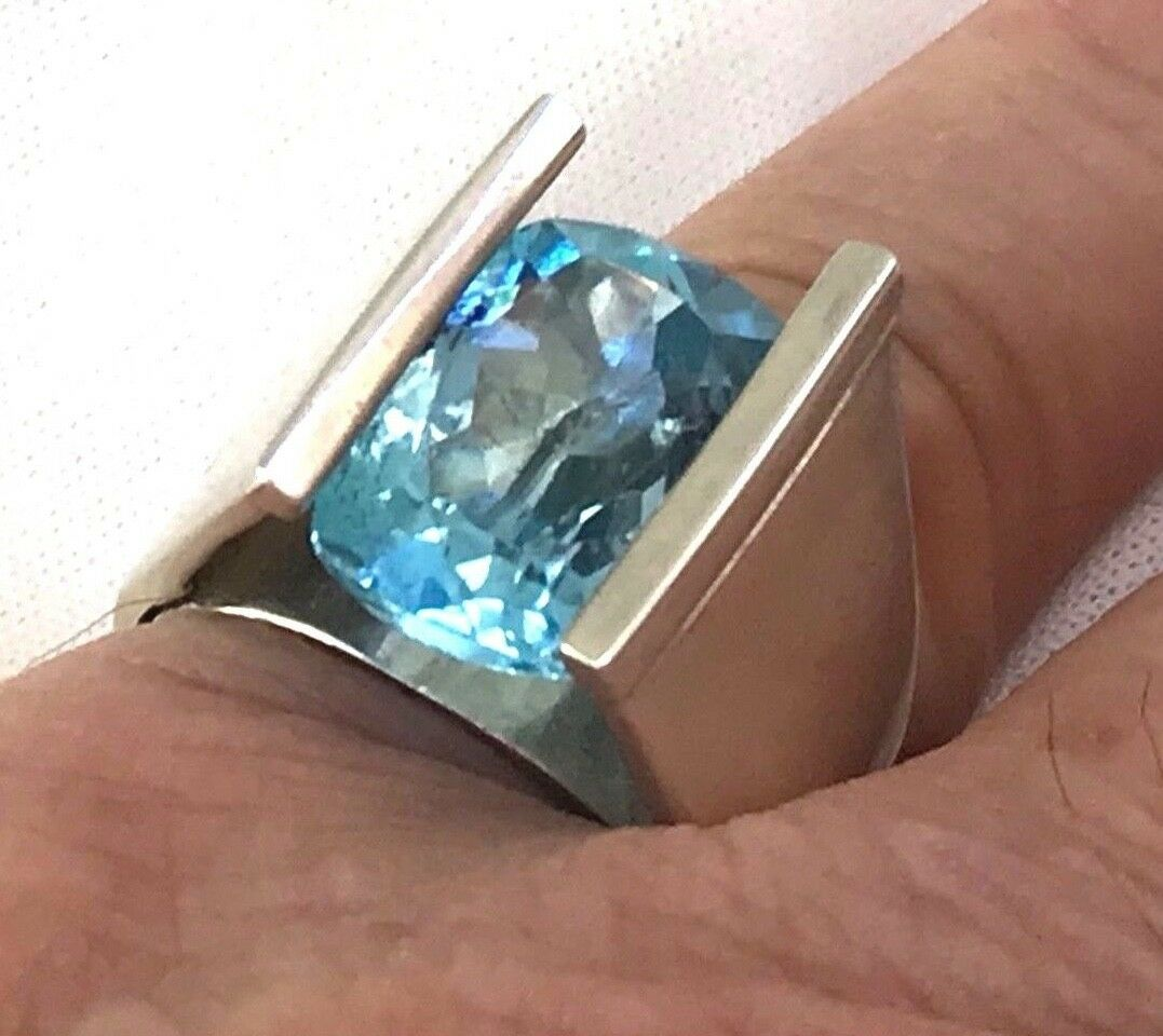 Large Solid Sterling & 12.3 Carat bluee Topaz Cushion Cut Ring Size 8.75 by Nete